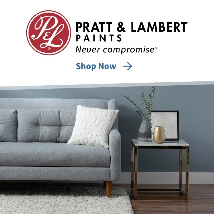 Pratt & Lambert Never Compromise with Shop Now link and painted room
