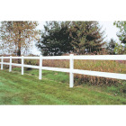 Outdoor Essentials 5 In. x 5 In. x 60 In. White Line 2-Rail Fence Vinyl Post Image 2