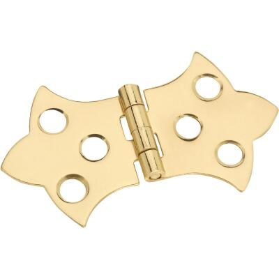 National 1-5/16 In. x 2-1/4 In. Miniature Brass Decorative Hinge (2-Pack)