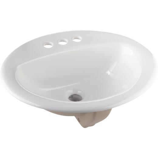 Oval Drop-In Bathroom Sink, White