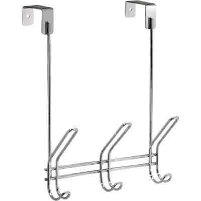 InterDesign Classico Over-The-Door Chrome 3-Hook Rail