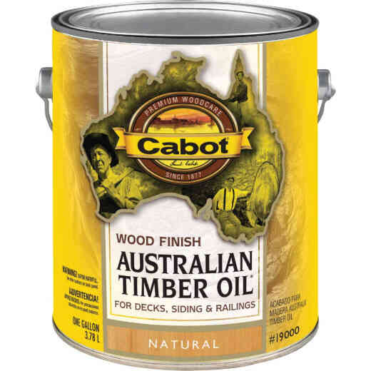 Cabot Australian Timber Oil Water Reducible Translucent Exterior Oil Finish, Natural, 1 Gal.